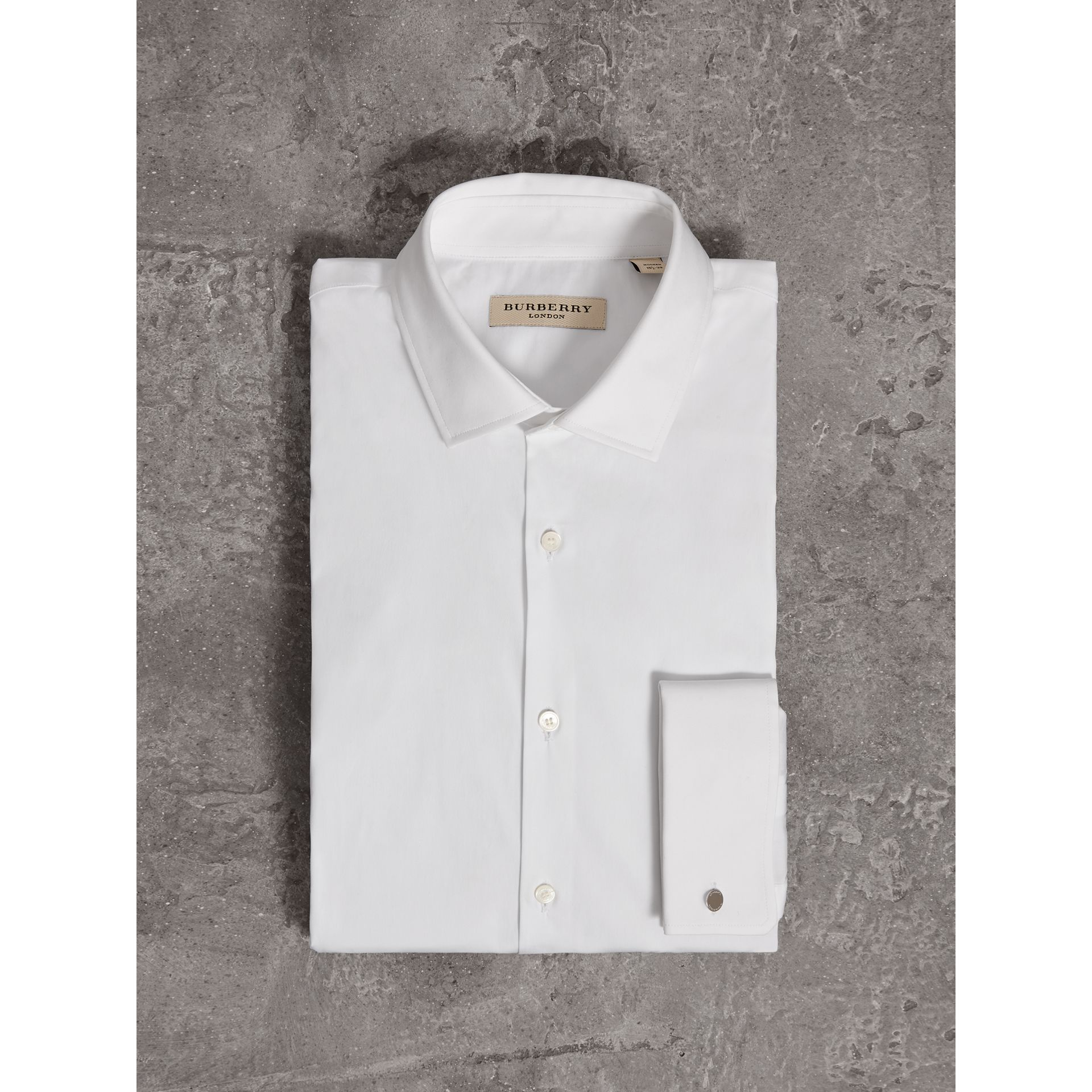 Modern Fit Double-cuff Stretch-cotton Shirt in White - Men | Burberry - gallery image 4