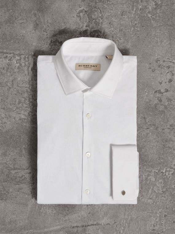 Modern Fit Double-cuff Stretch-cotton Shirt in White - Men | Burberry - cell image 3