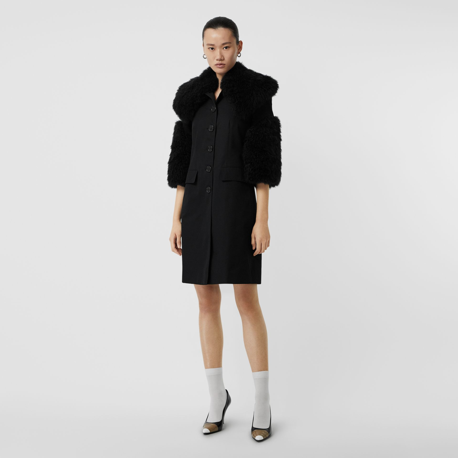 Goat Hair Trim Cotton Gabardine Coat in Black - Women | Burberry - gallery image 0