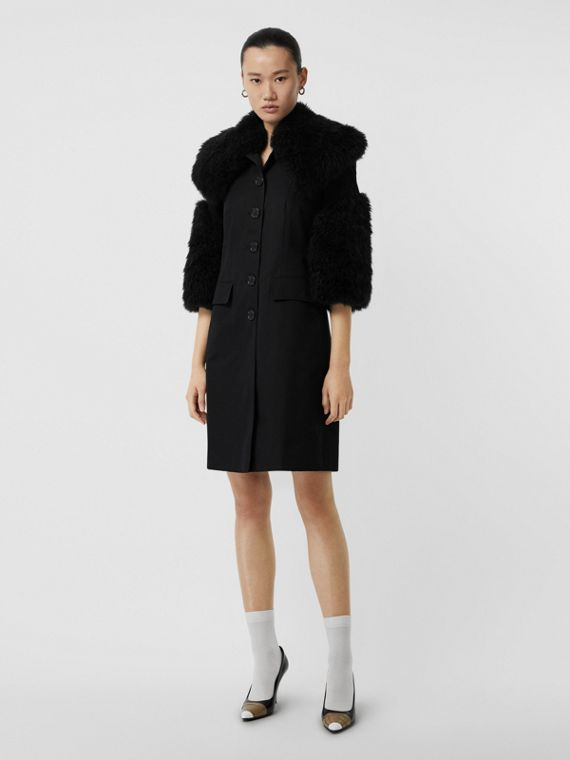 Goat Hair Trim Cotton Gabardine Coat in Black