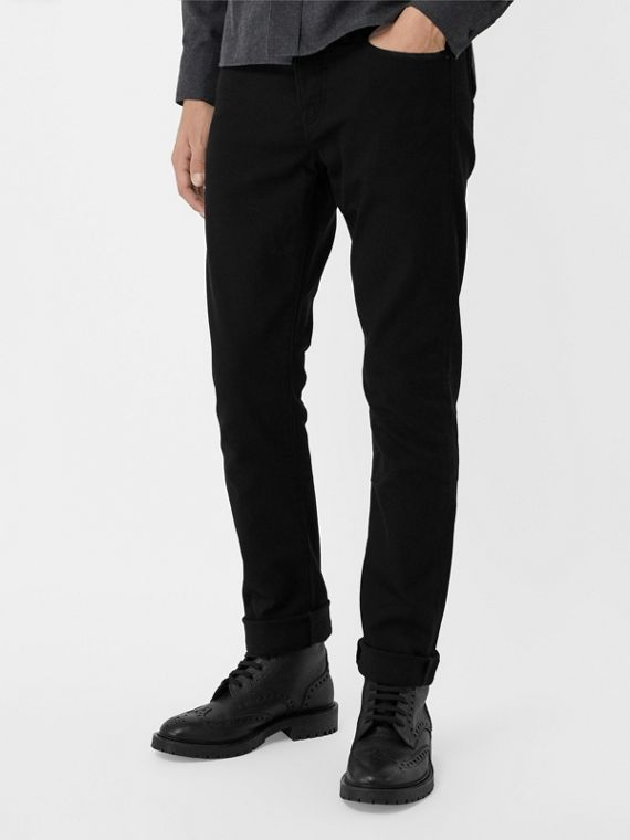 Straight Fit Stretch-denim Jeans in Black