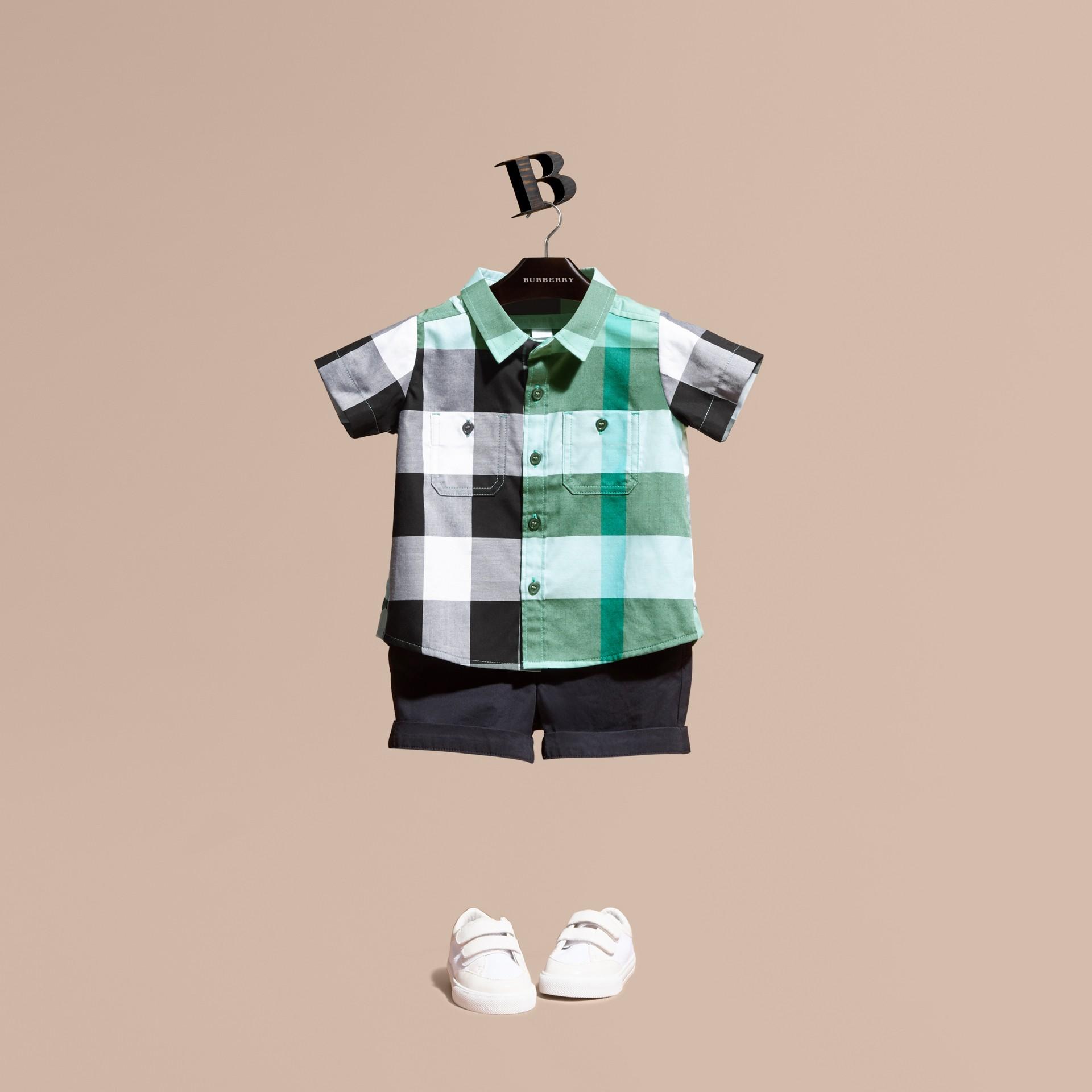 Short-sleeved Check Cotton Shirt Eucalyptus - gallery image 1