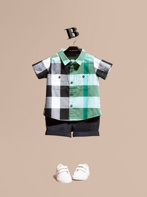 Short-sleeved Check Cotton Shirt Eucalyptus