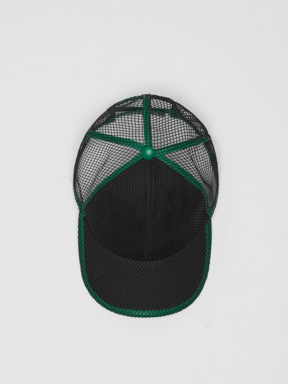 Vintage Check and Mesh Baseball Cap in Black