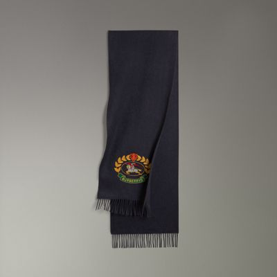 BURBERRY The Classic Scarf With Archive Logo In Navy Blue Cashmere