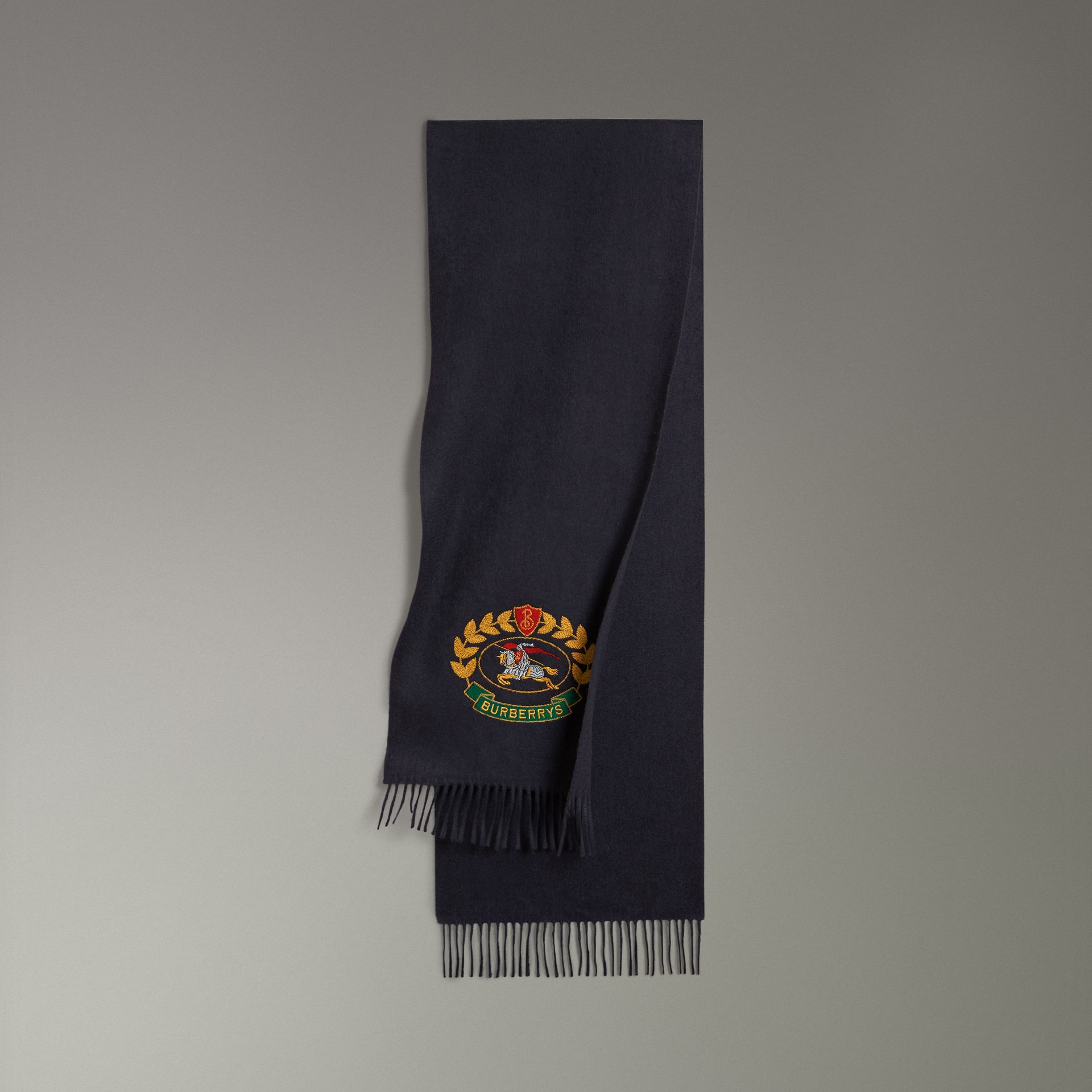 The Classic Cashmere Scarf with Archive Logo in Navy | Burberry United States - gallery image 0