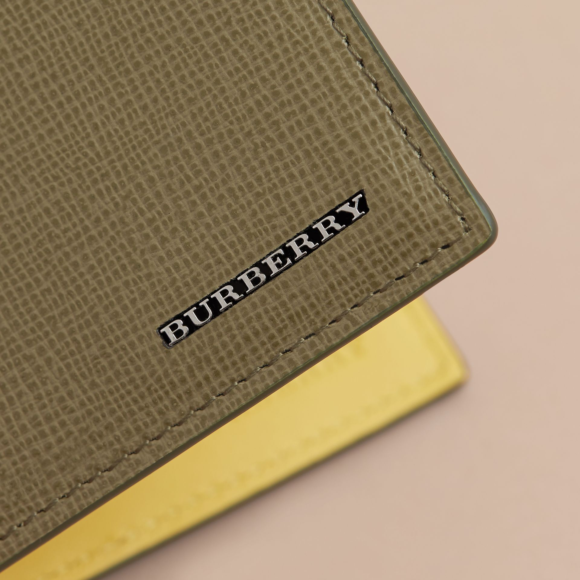 London Leather Slim Folding Wallet in Olive Green | Burberry - gallery image 4