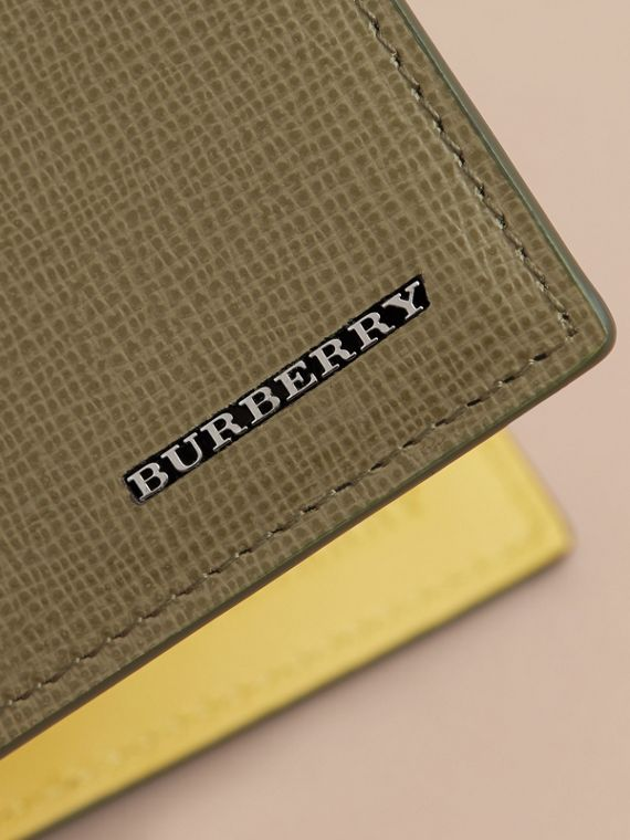 London Leather Slim Folding Wallet in Olive Green | Burberry - cell image 3