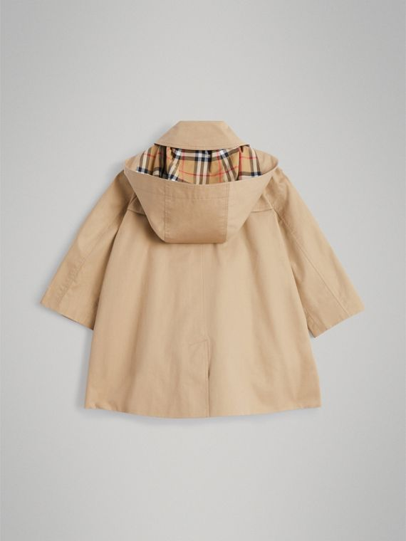 Detachable Hood Showerproof Cotton Swing Coat in Honey - Girl | Burberry United Kingdom - cell image 3