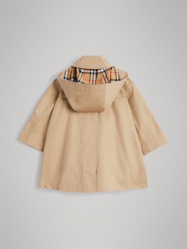 Detachable Hood Showerproof Cotton Swing Coat in Honey - Girl | Burberry - cell image 3