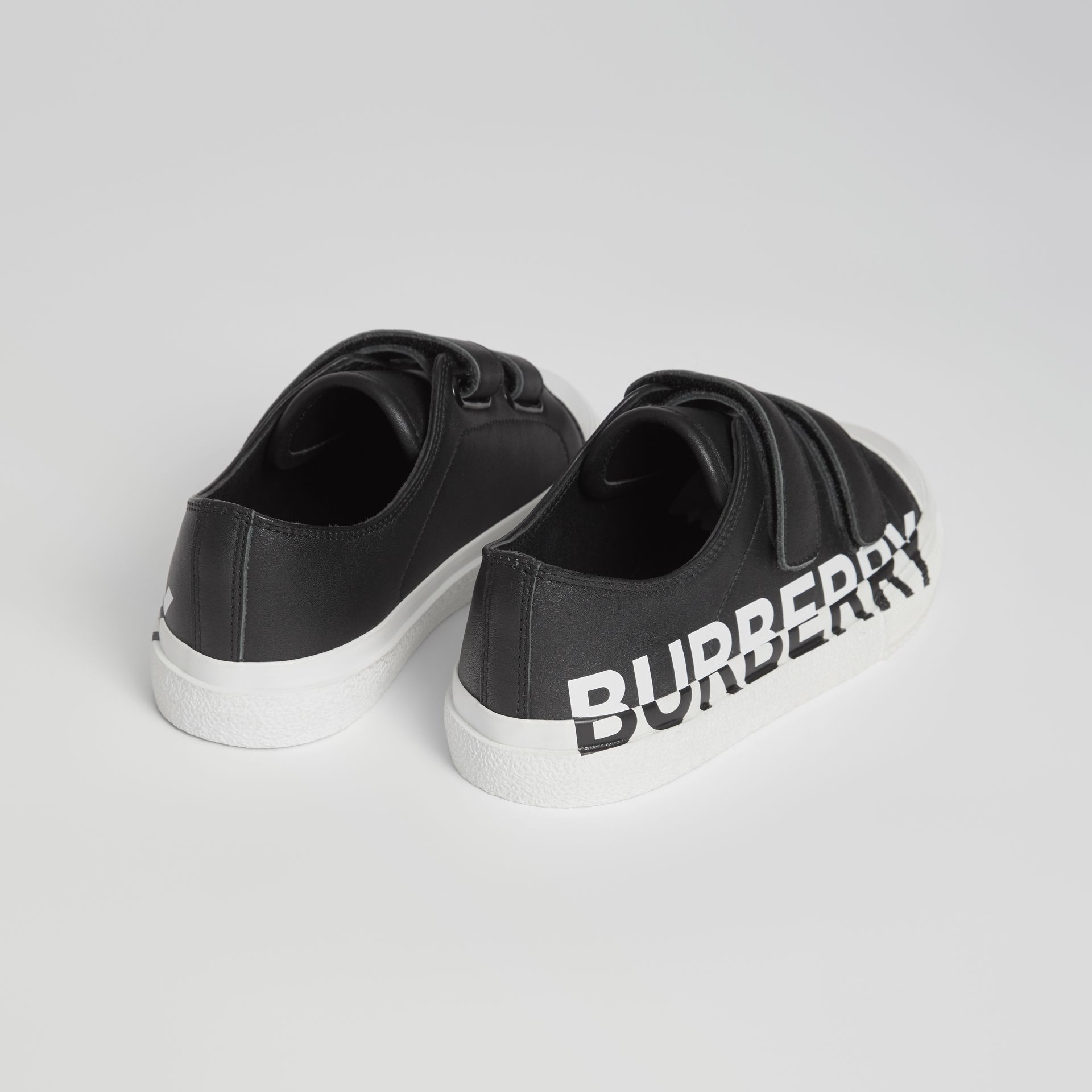 Logo Print Two-tone Leather Sneakers in Black/white - Children | Burberry - gallery image 2