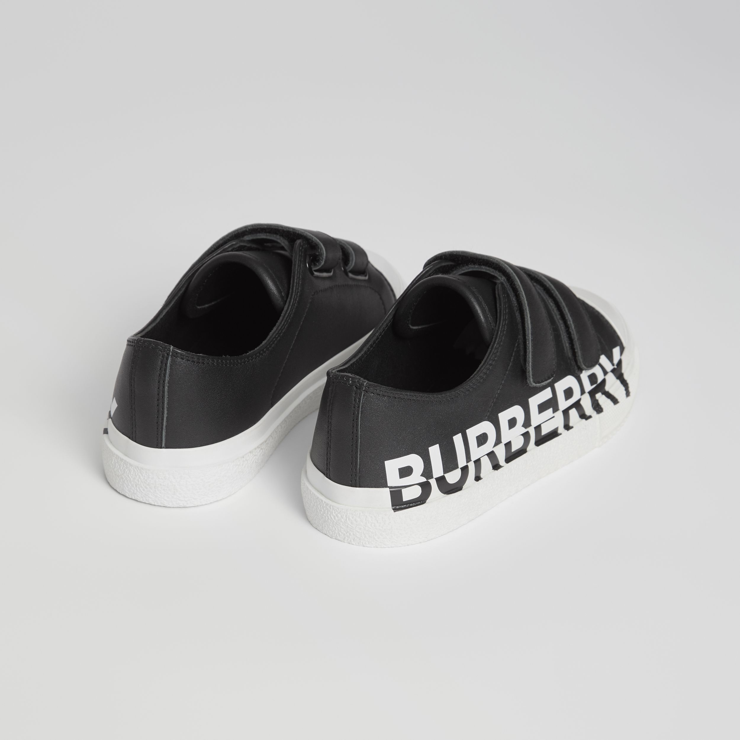 Logo Print Two-tone Leather Sneakers in Black/white - Children | Burberry - 3