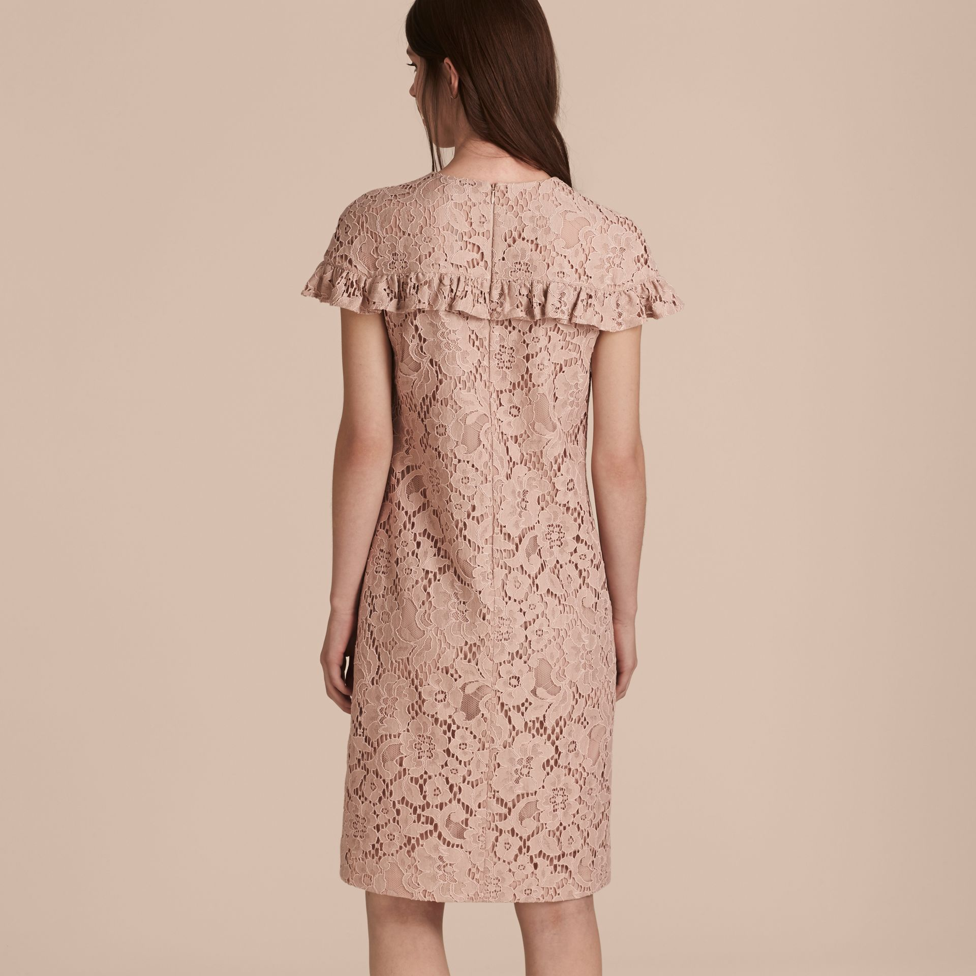 Nude Mid-length Lace Shift Dress with Ruffle Detail - gallery image 3