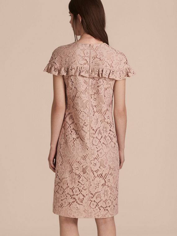Nude Mid-length Lace Shift Dress with Ruffle Detail - cell image 2