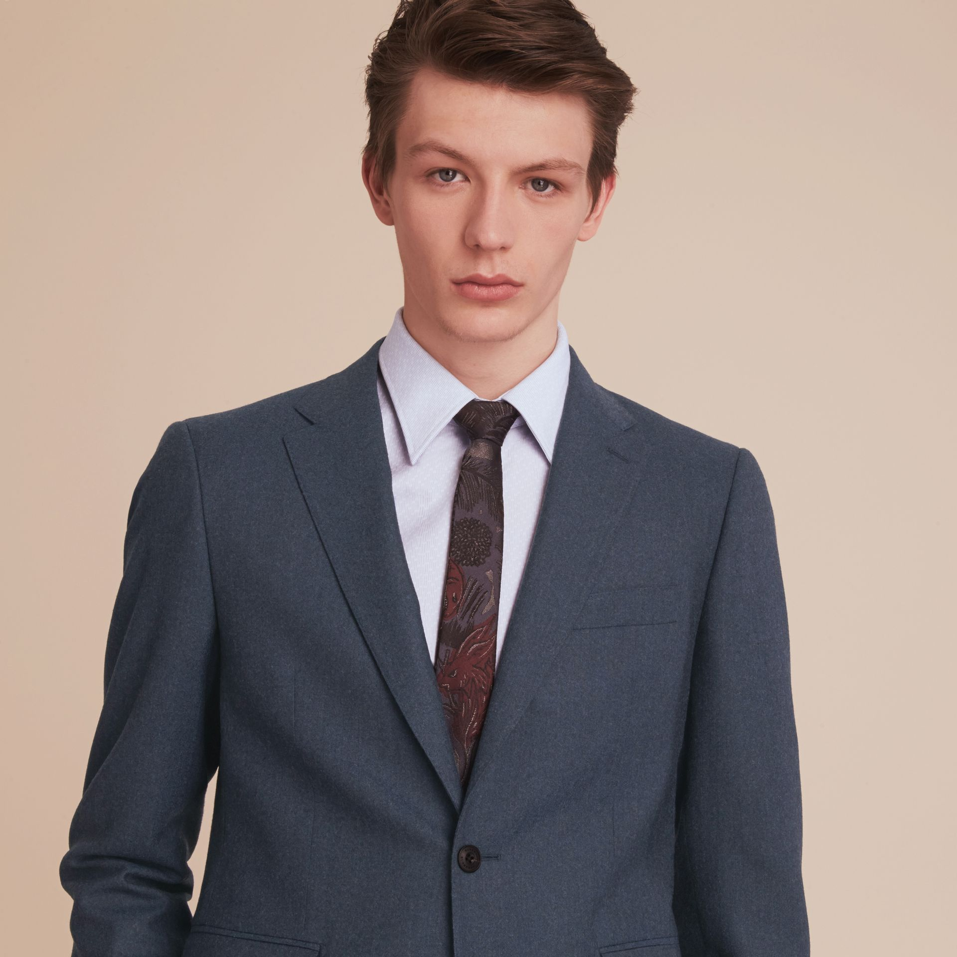 Soho Fit Wool Flannel Suit in Petrol Blue Melange - Men | Burberry - gallery image 5