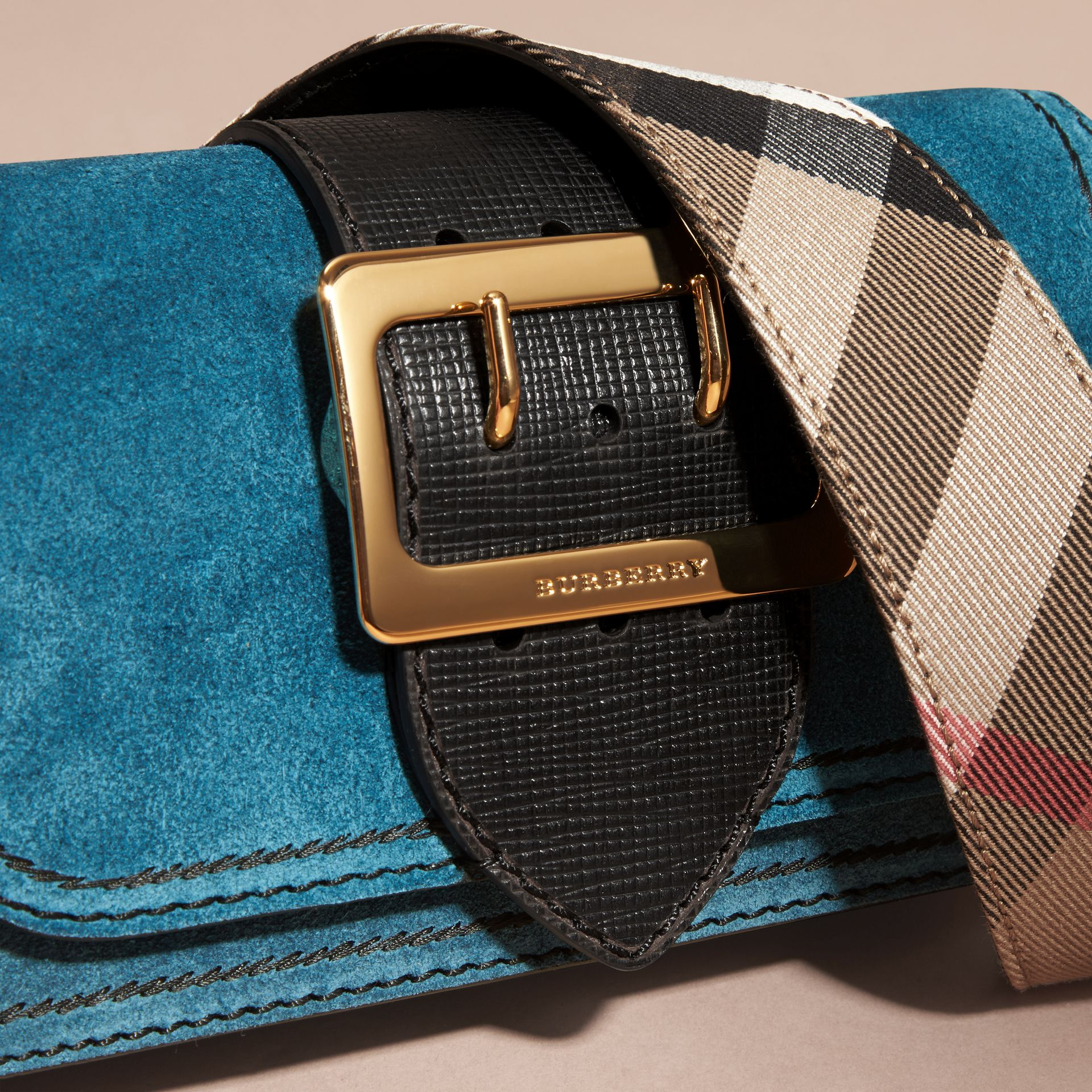 The Small Buckle Bag in Suede with Topstitching in Peacock Blue /black - gallery image 2