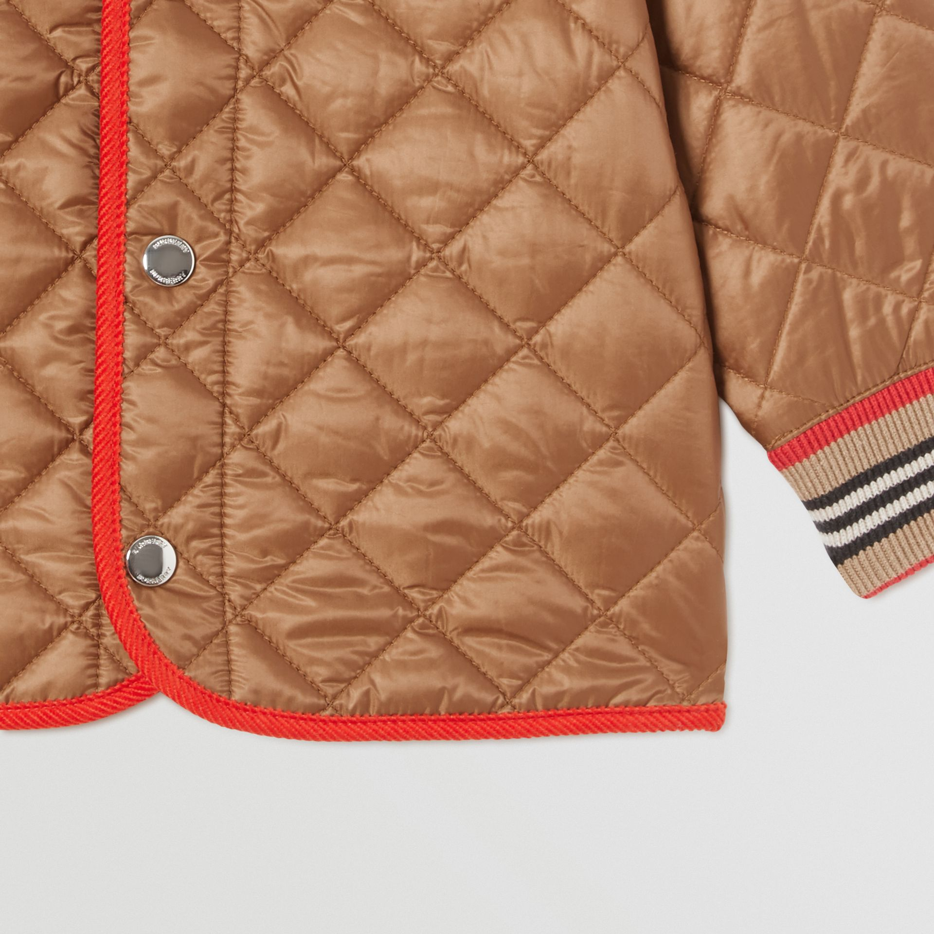 Corduroy Trim Lightweight Diamond Quilted Jacket in Bronze - Children | Burberry - gallery image 5