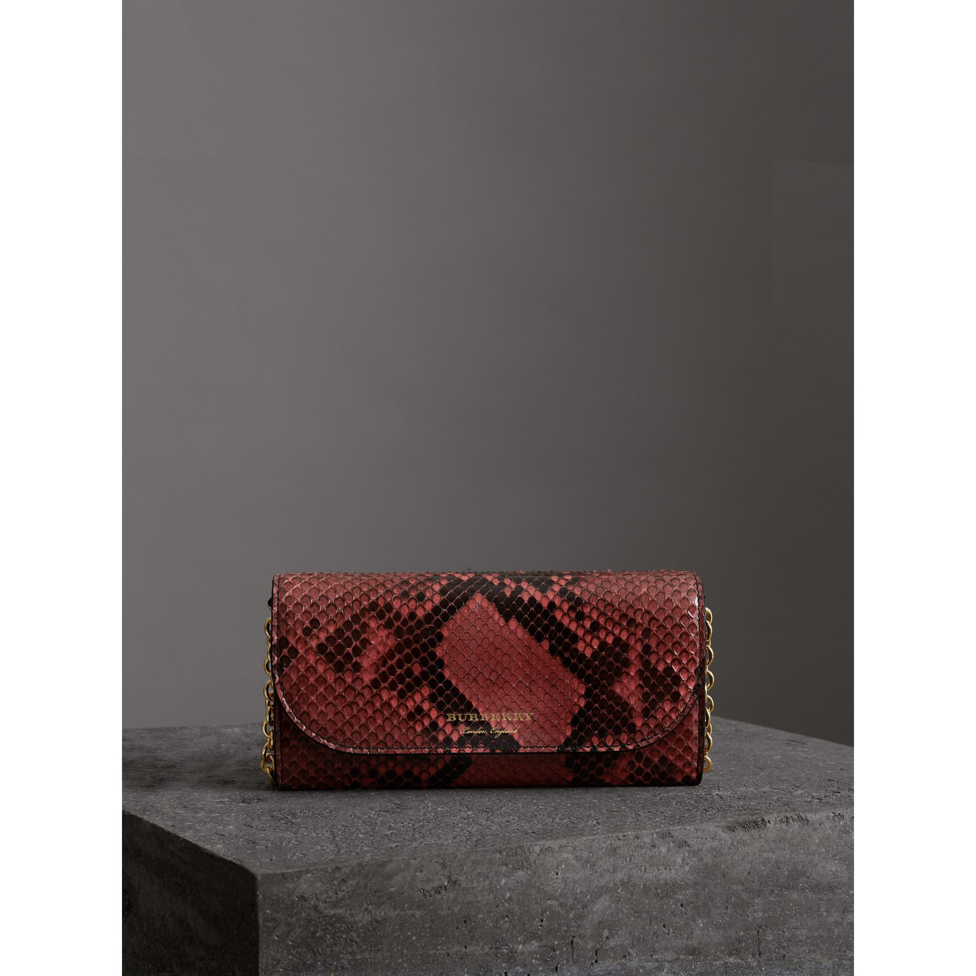 Python Wallet with Chain in Peony - Women | Burberry - gallery image 4