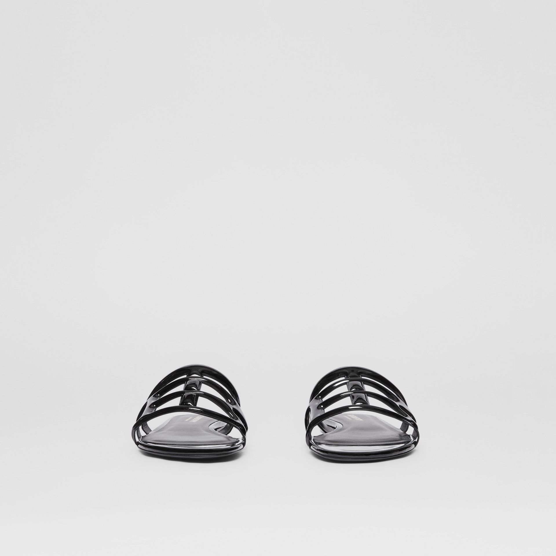 Monogram Motif Patent Leather Sandals in Black - Women | Burberry United Kingdom - gallery image 3