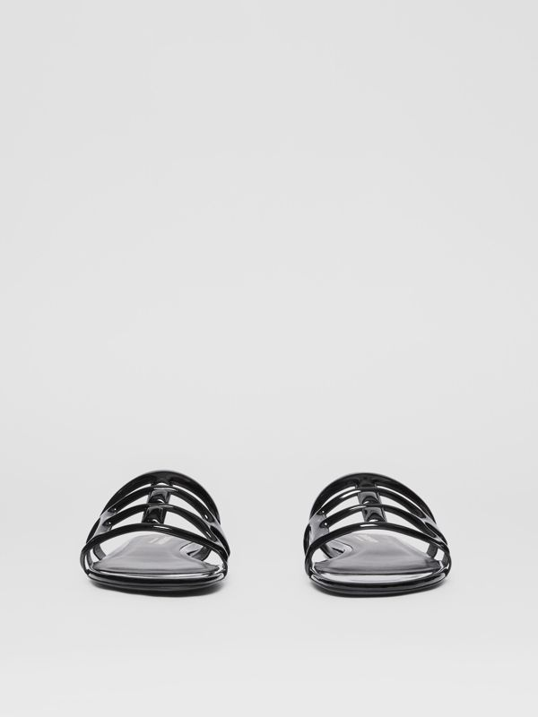 Monogram Motif Patent Leather Sandals in Black - Women | Burberry United Kingdom - cell image 3