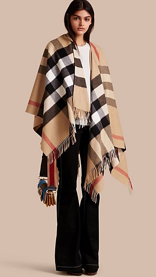 Check Cashmere and Wool Poncho Camel