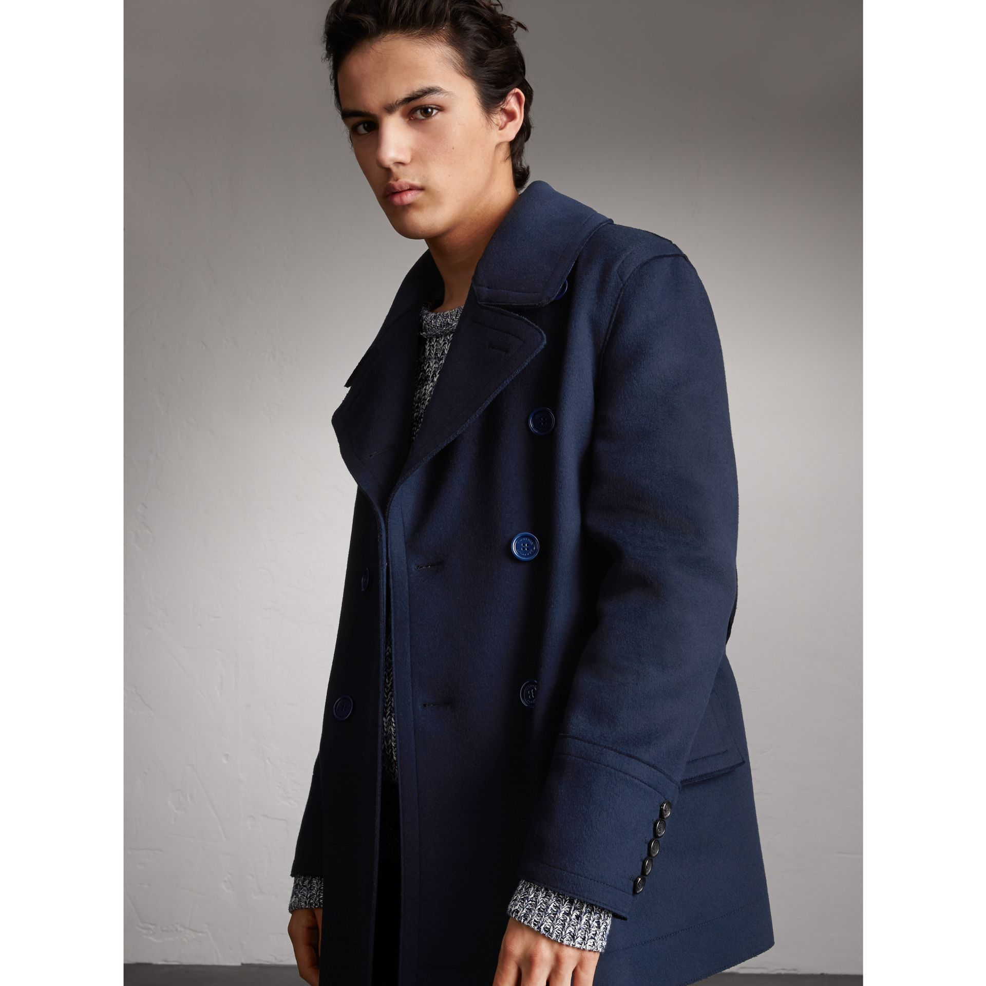 Resin Button Wool Pea Coat in Military Navy - Men | Burberry ...