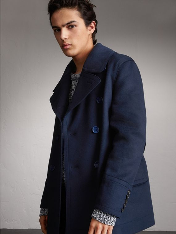 Resin Button Wool Pea Coat in Military Navy