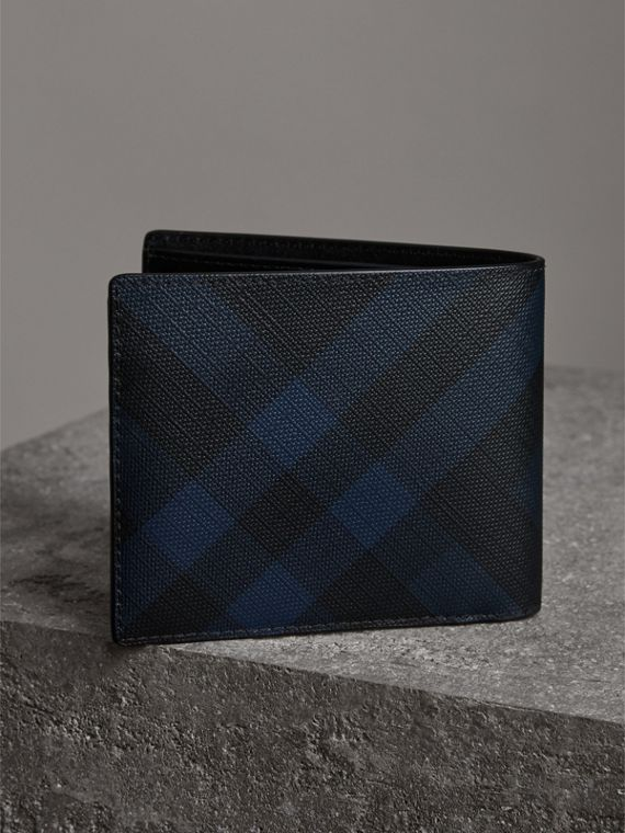 London Check Bifold Wallet with Removable Card Case in Navy/black - Men | Burberry Singapore - cell image 2