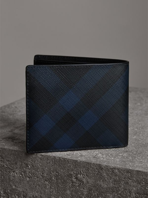London Check Bifold Wallet with Removable Card Case in Navy/black - Men | Burberry - cell image 2