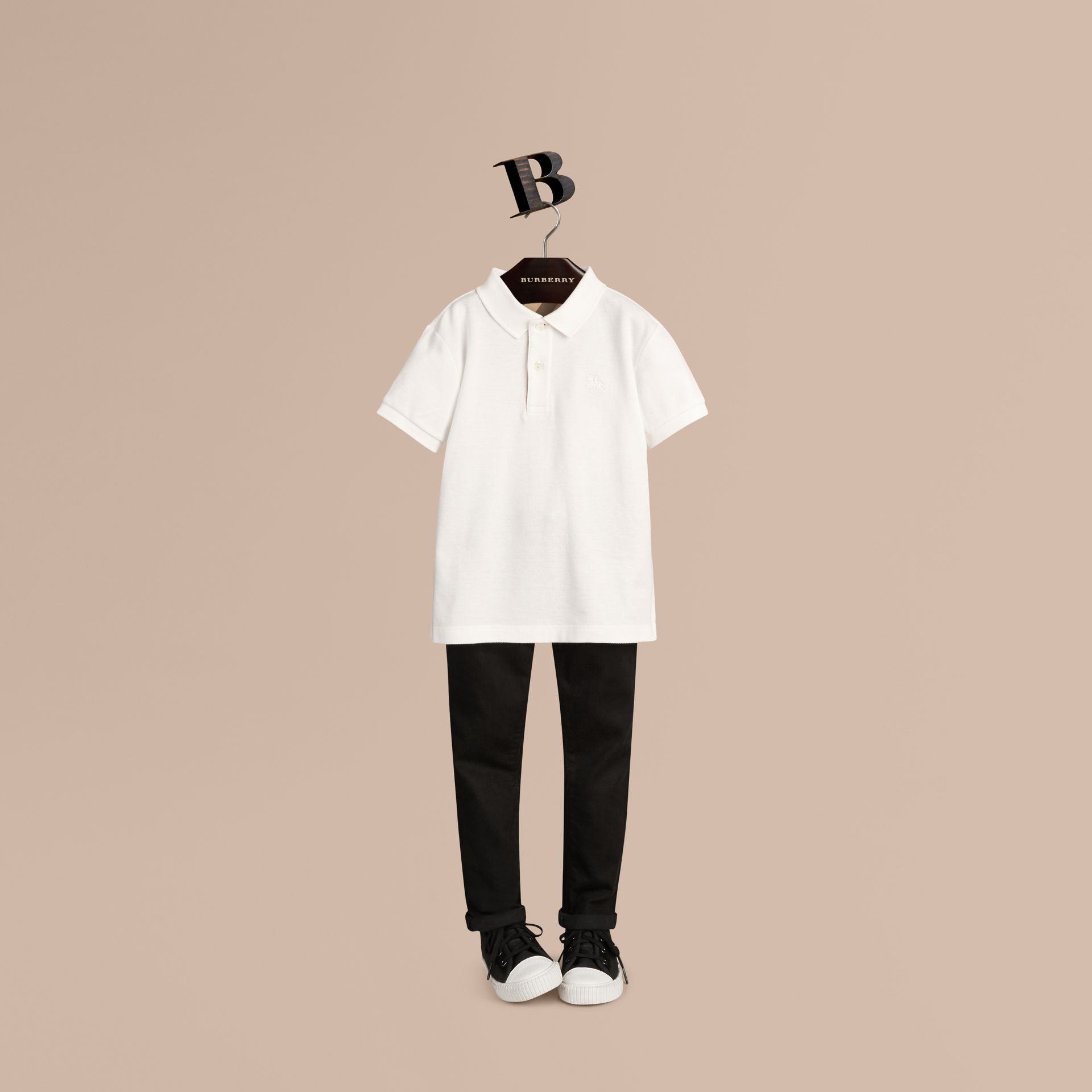 Check Placket Polo Shirt in White - Boy | Burberry Australia - gallery image 1