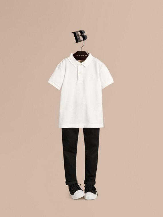 Check Placket Polo Shirt in White