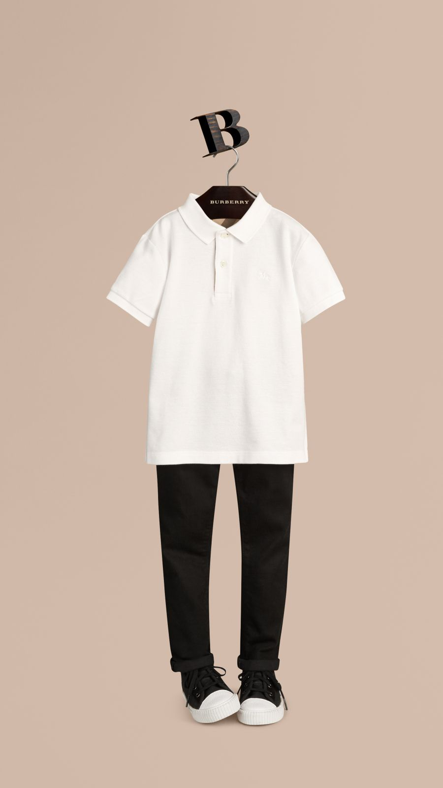 White Check Placket Polo Shirt White - Image 1