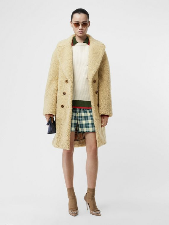 Faux Shearling Double-breasted Oversized Coat in Camomile