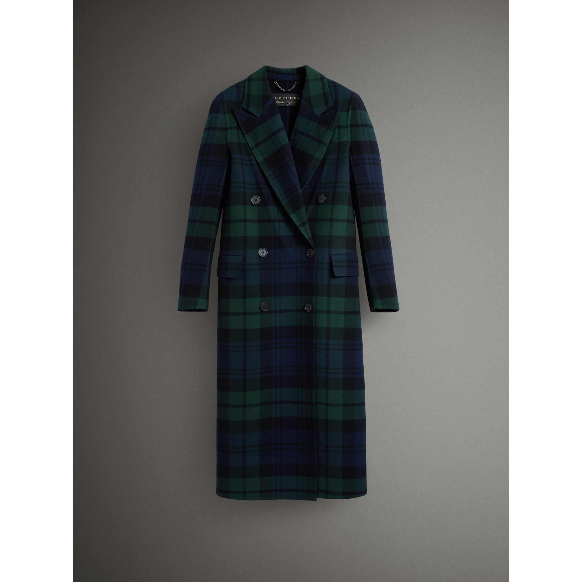 Tartan Double-faced Wool Cashmere Tailored Coat in Midnight Blue/bright Navy - Women | Burberry Australia - gallery image 3