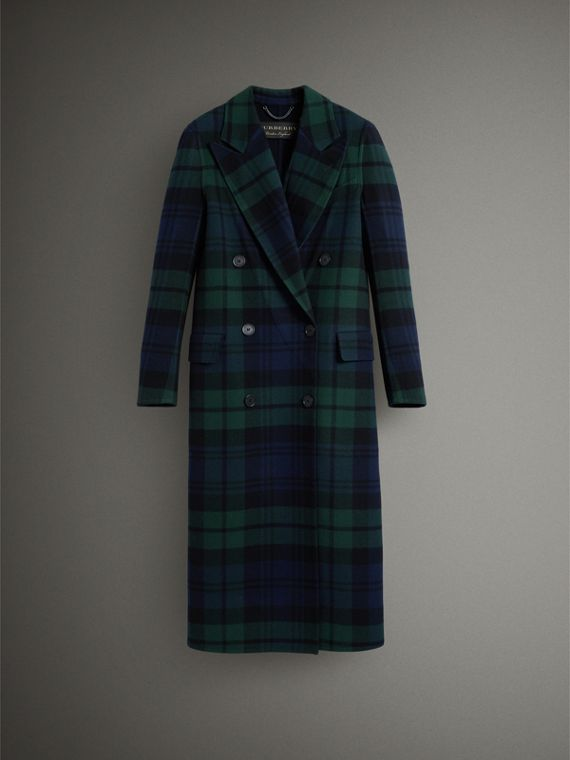 Tartan Double-faced Wool Cashmere Tailored Coat in Midnight Blue/bright Navy - Women | Burberry United Kingdom - cell image 3