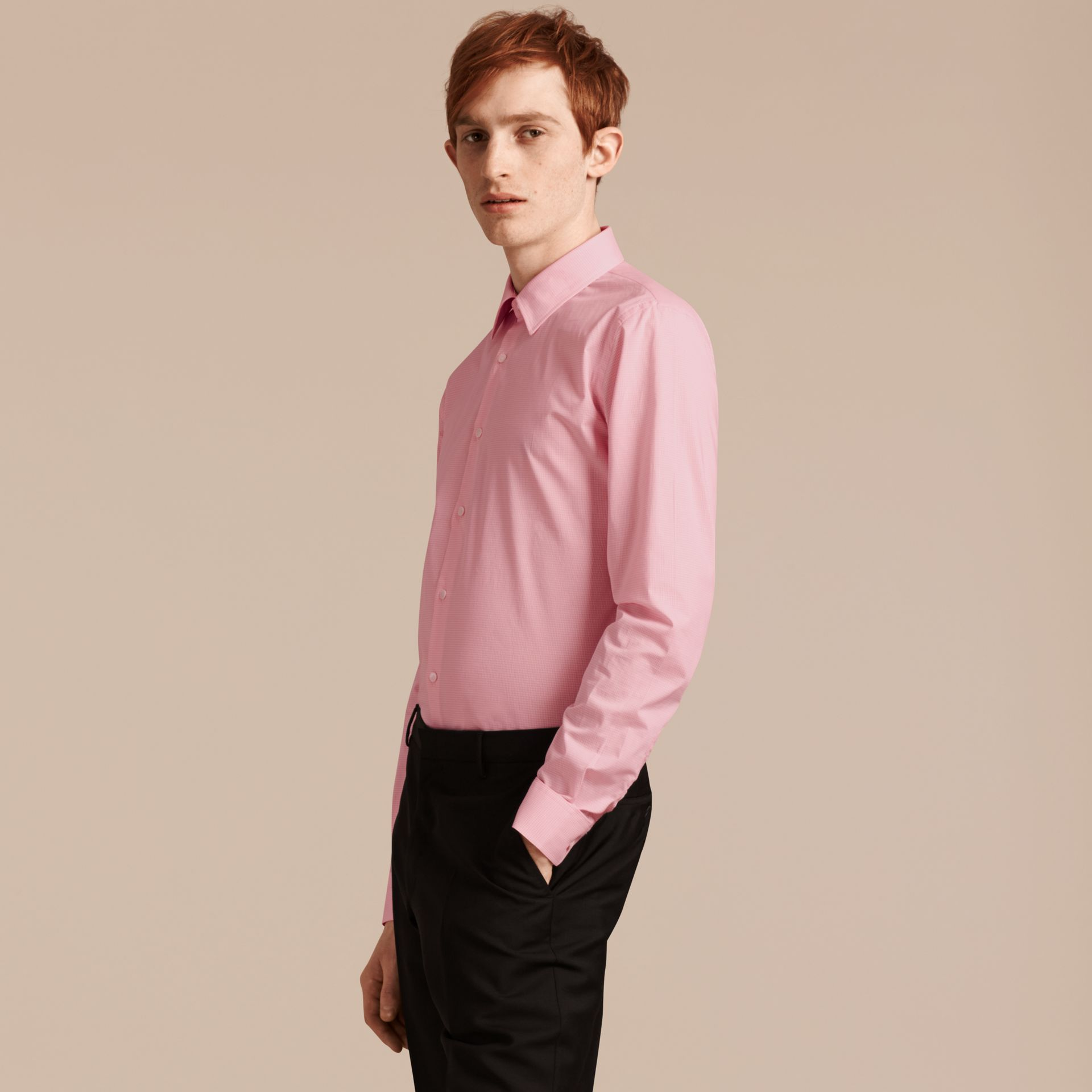 Slim Fit Gingham Cotton Poplin Shirt City Pink - gallery image 6
