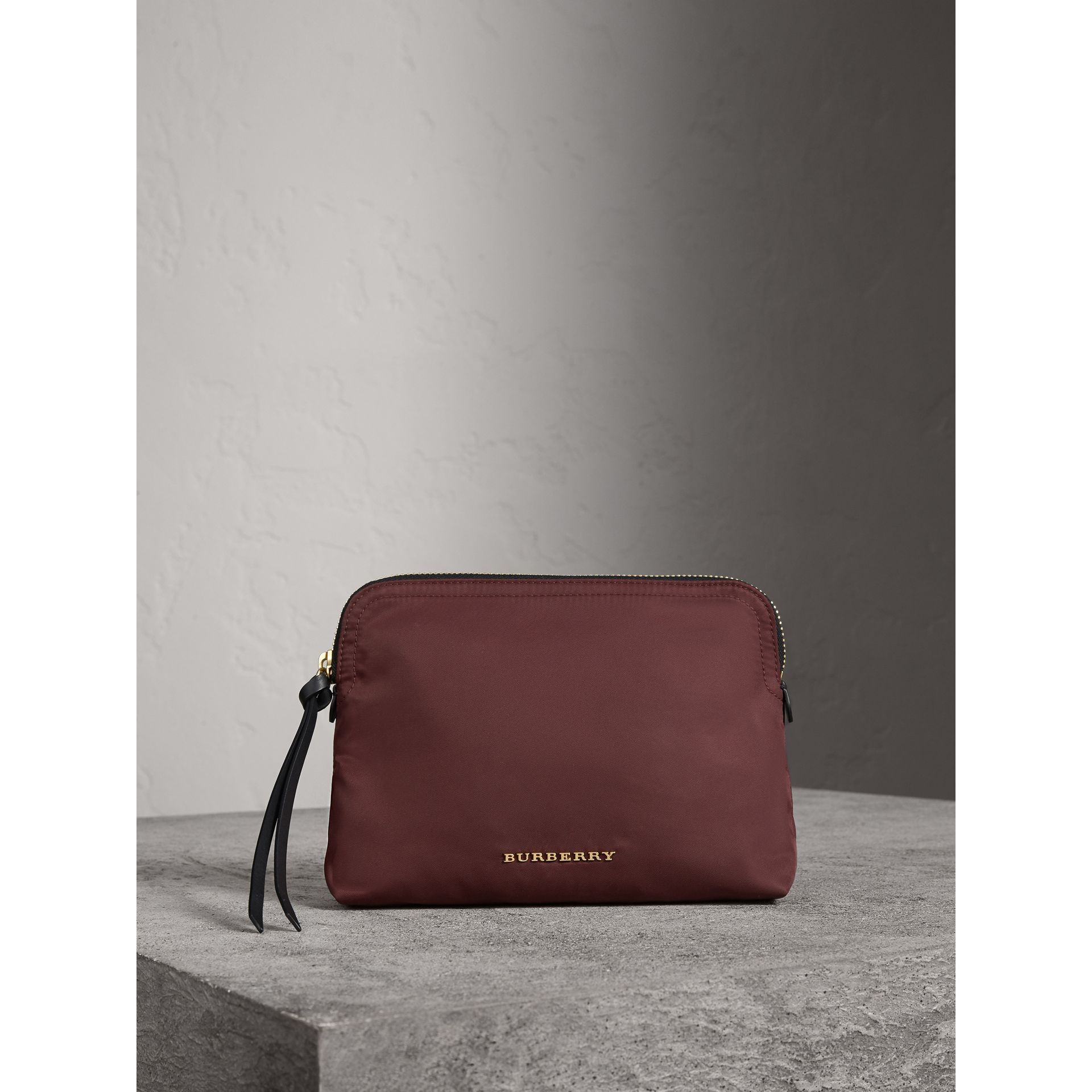 Large Zip-top Technical Nylon Pouch in Burgundy Red - Women | Burberry Canada - gallery image 1