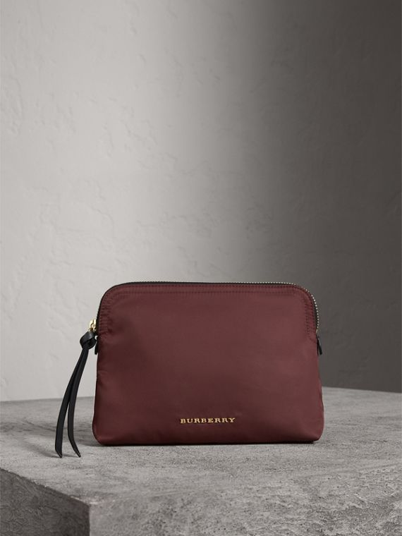 Large Zip-top Technical Nylon Pouch in Burgundy Red - Women | Burberry