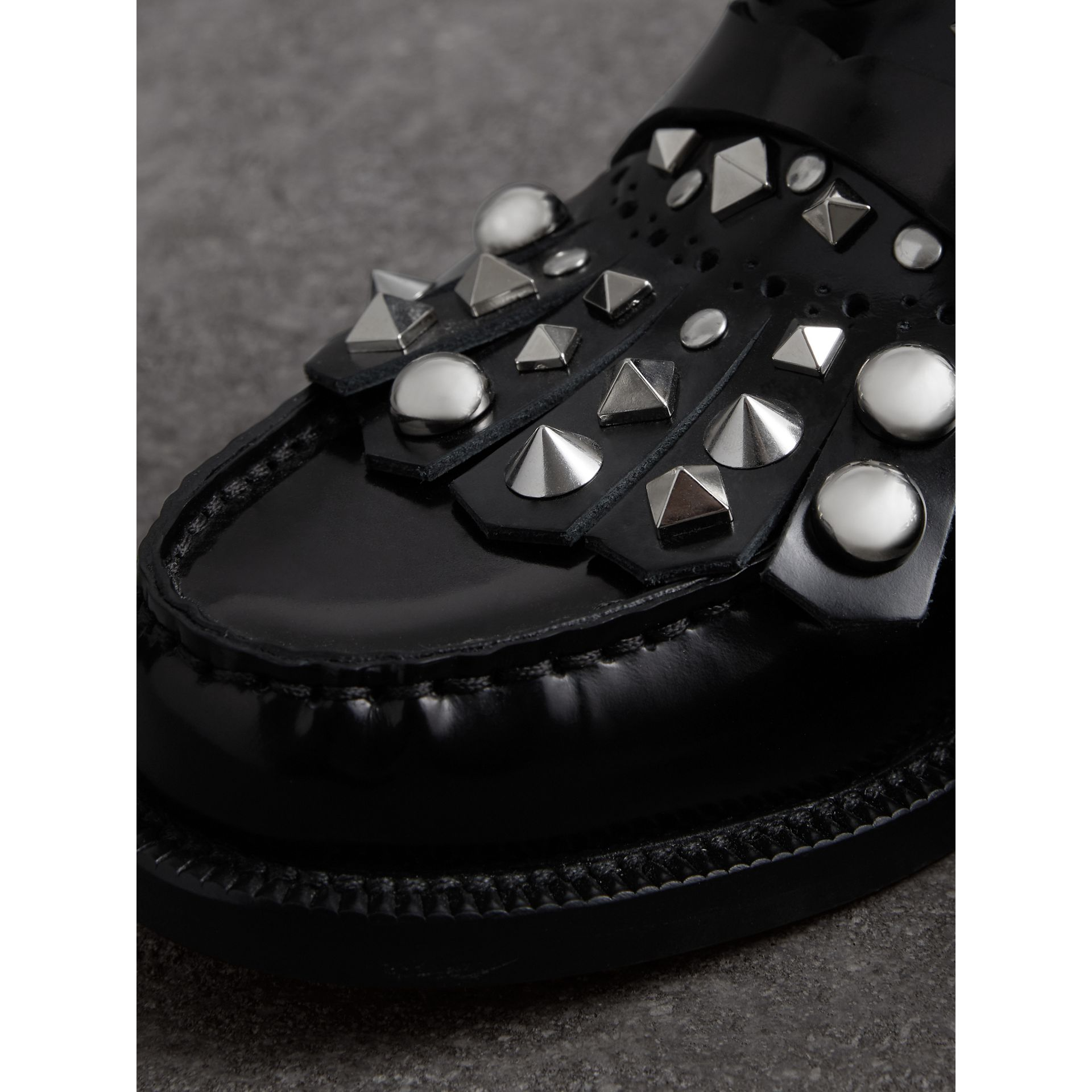 Studded Fringe Patent Leather Mules in Black - Women | Burberry - gallery image 1
