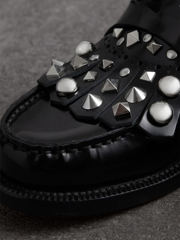 Studded Fringe Patent Leather Mules in Black - Women | Burberry - cell image 1
