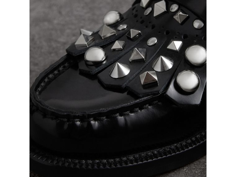 Studded Fringe Patent Leather Mules in Black - Women | Burberry Hong Kong - cell image 1