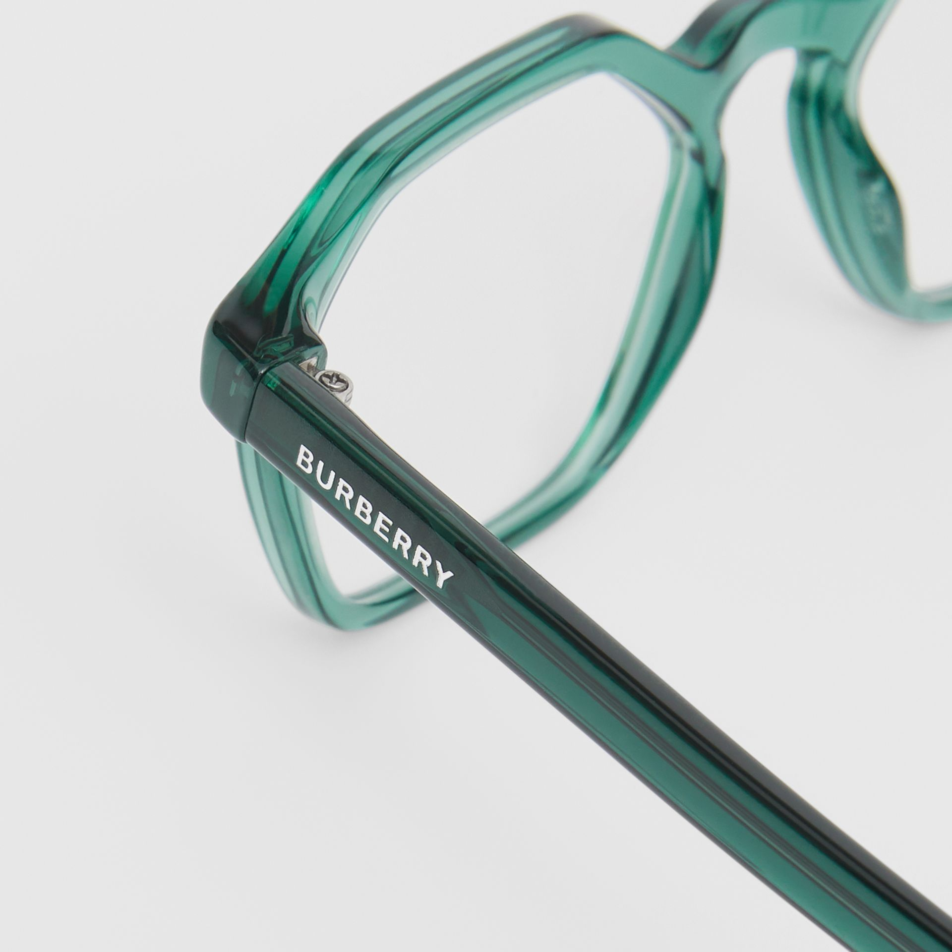 Geometric Optical Frames in Green - Women | Burberry United Kingdom - gallery image 1