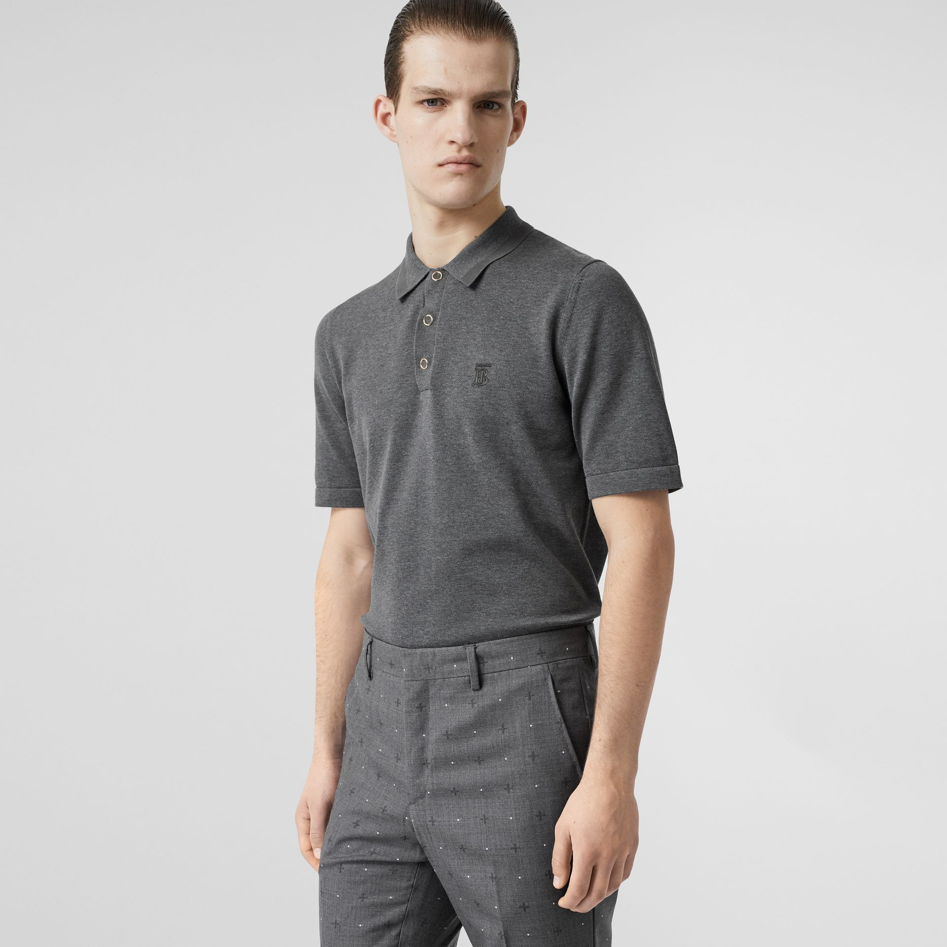 Monogram Motif Cotton Polo Shirt in Mid Grey Melange - Men | Burberry - gallery image 0