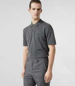 ffb141d12 Monogram Motif Cotton Polo Shirt in Mid Grey Melange