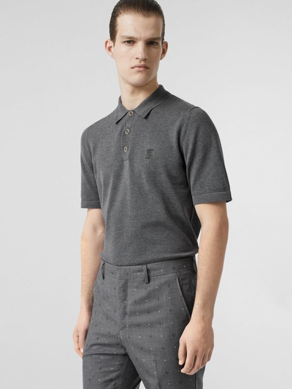 Monogram Motif Cotton Polo Shirt in Mid Grey Melange