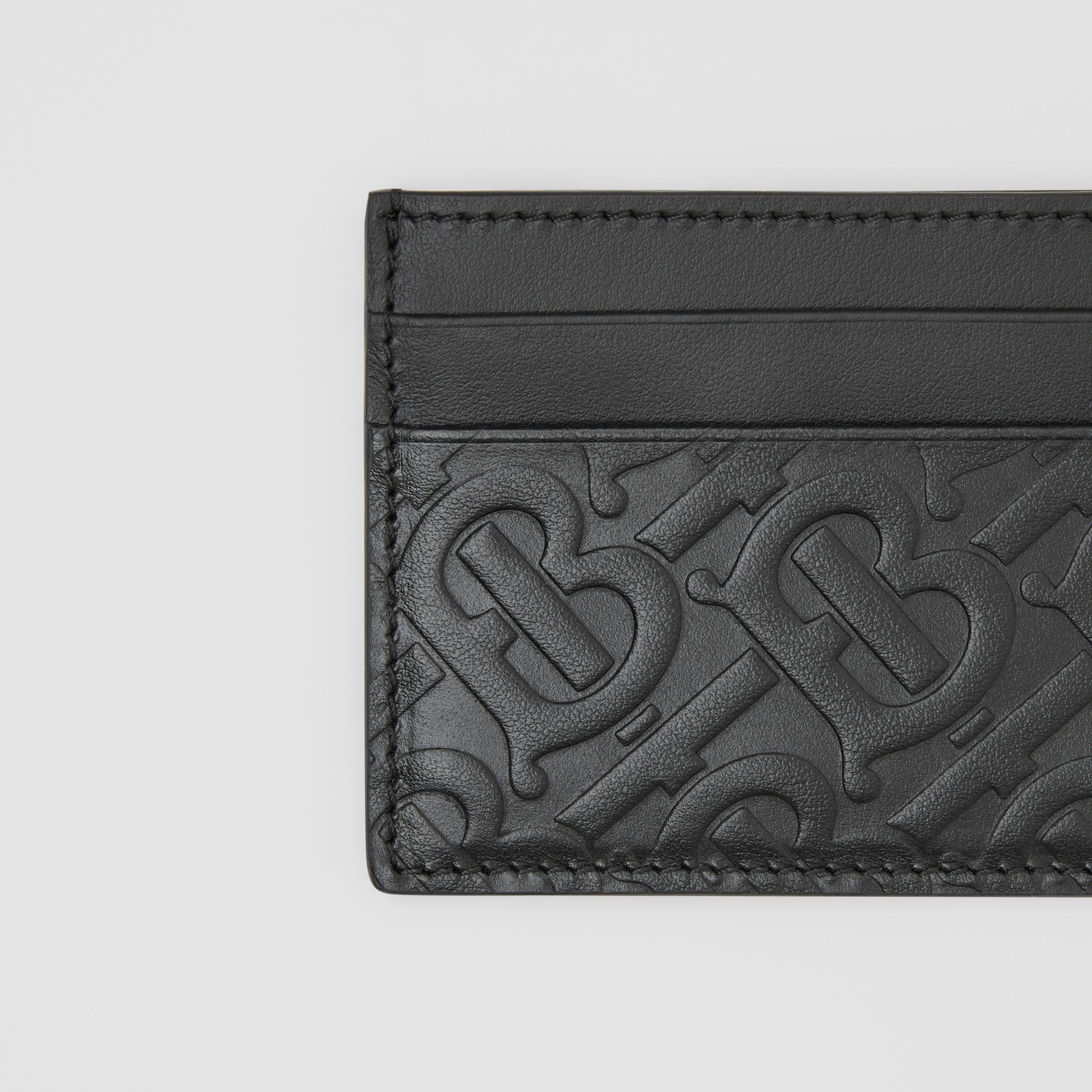Monogram Leather Card Case in Black | Burberry Canada - 2
