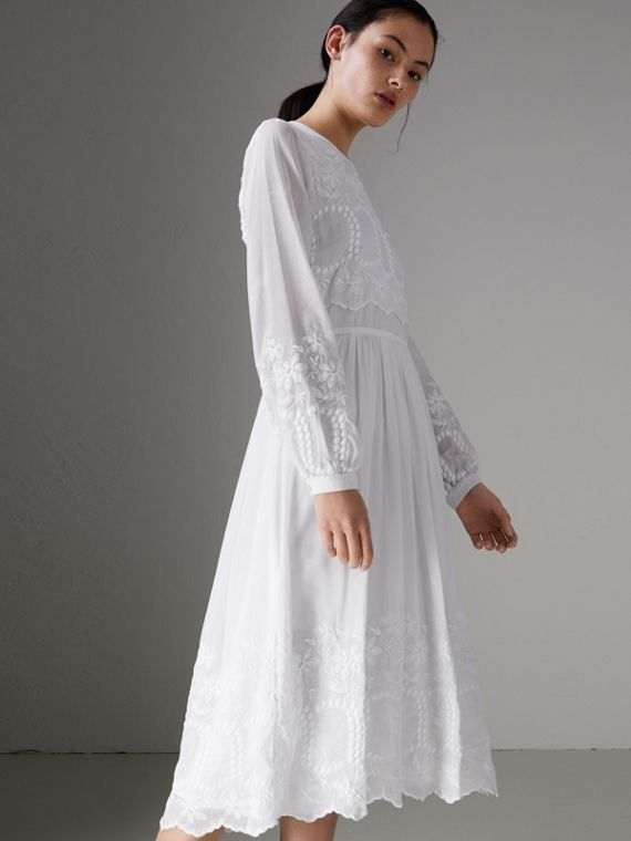 Embroidered Cotton Silk Voile Dress in White