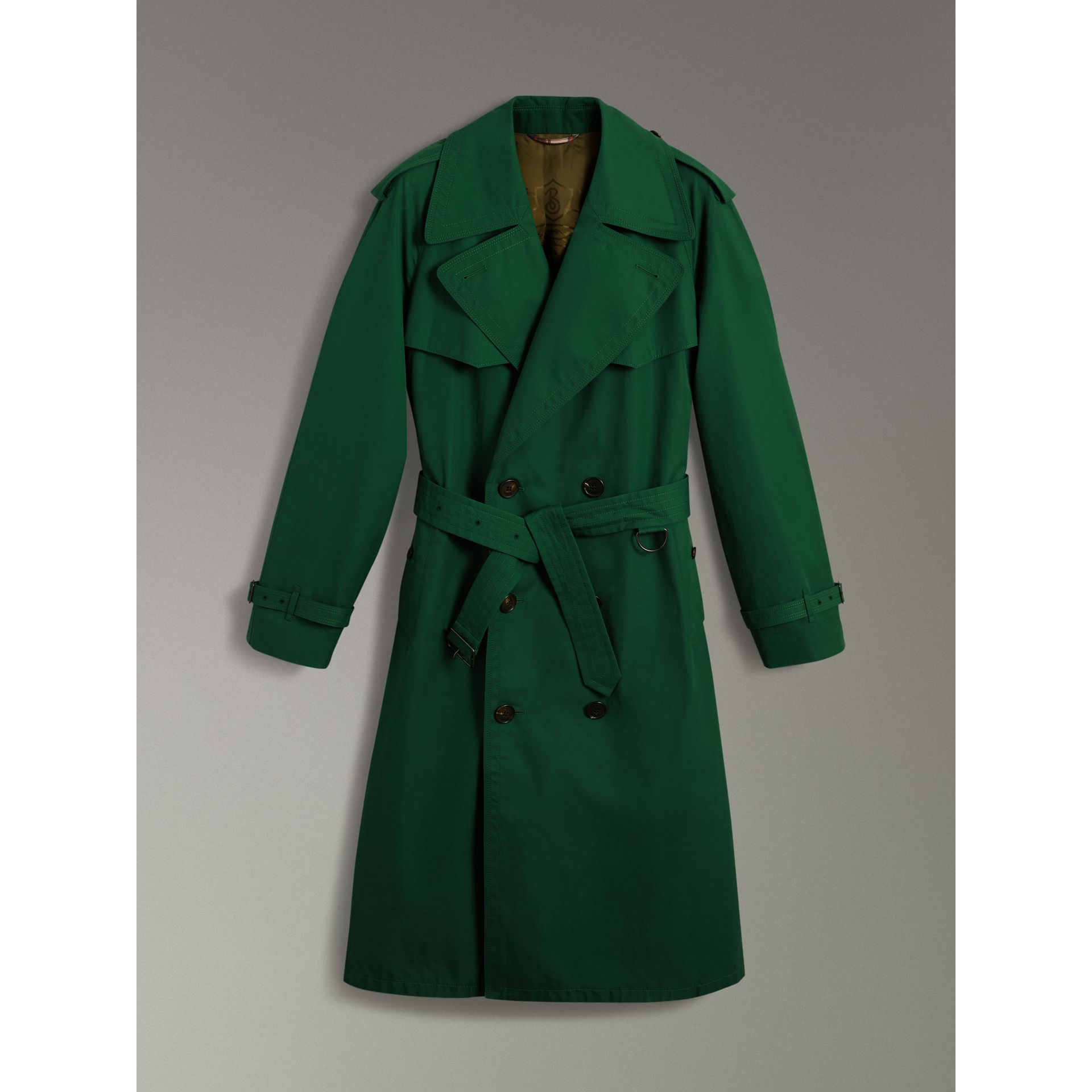 Gun-flap Detail Cotton Gabardine Trench Coat in Deep Veridian Green - Men | Burberry - gallery image 3