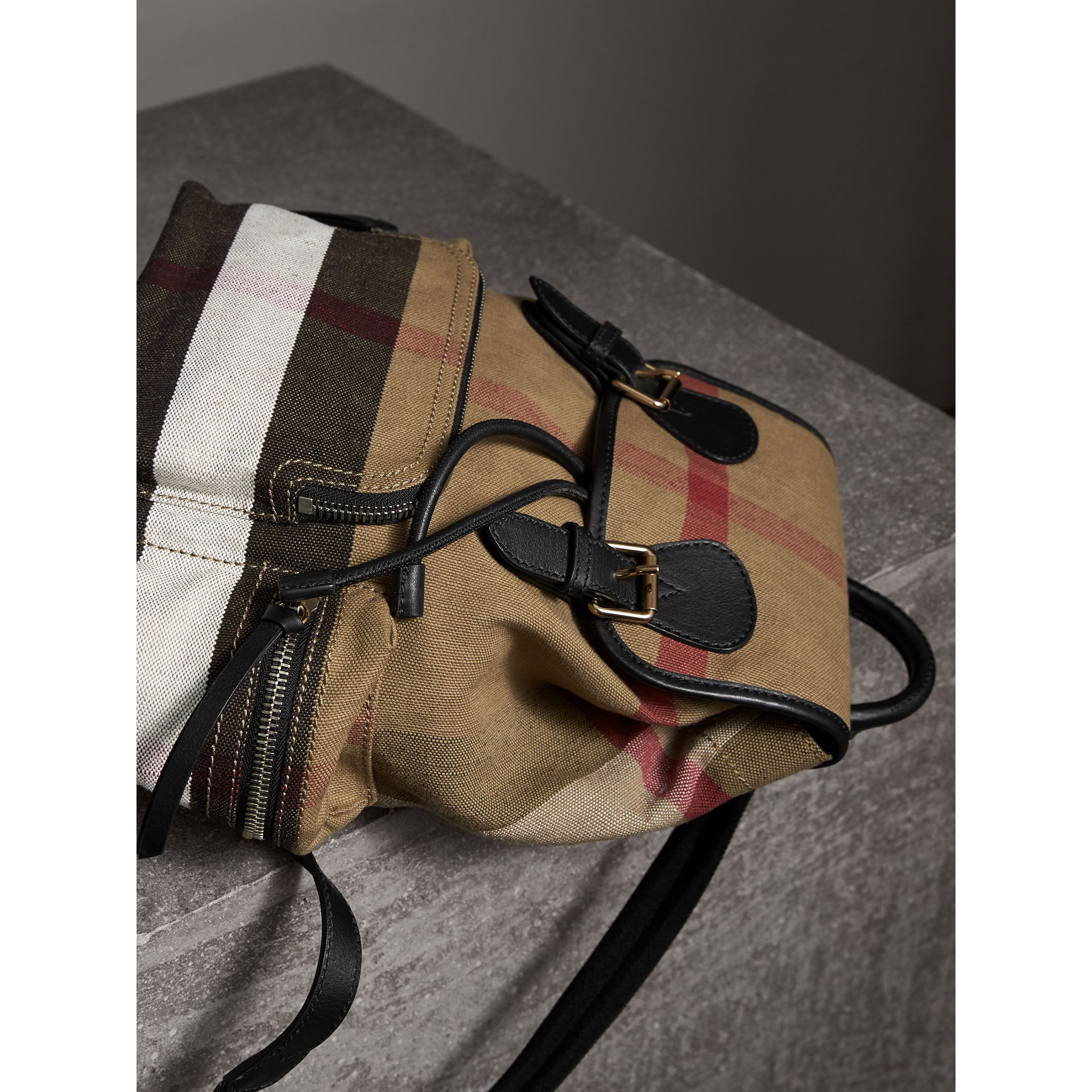 The Medium Rucksack in Canvas Check and Leather - Women | Burberry - gallery image 6