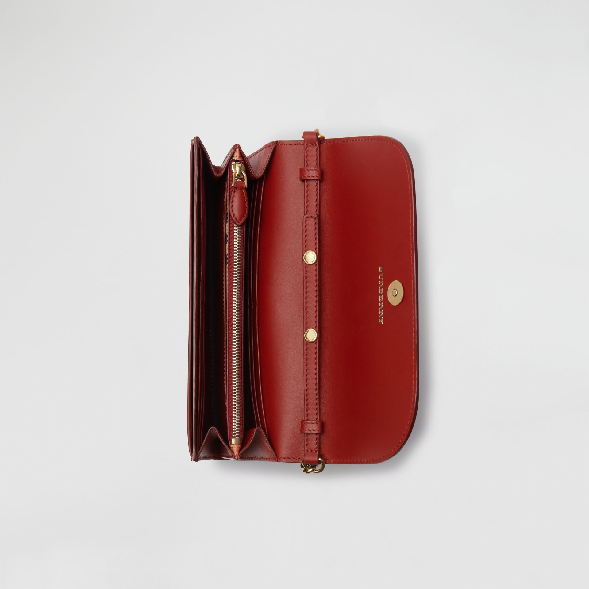 Vintage Check and Leather Wallet with Detachable Strap in Crimson - Women | Burberry Australia - gallery image 3